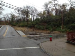 The corner of Homer and Damas before the lot was cleared and the wall was installed.