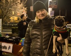Julie Wiles and Gertrude the pug enjoy Observatory Hill's first Light Up Night. Photo credit: Chloe Jakiela