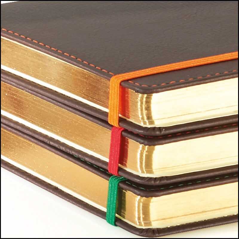 Gold Page Edges on Phoenix Branded Notebooks by The Notebook Warehouse. Gold Page Edges