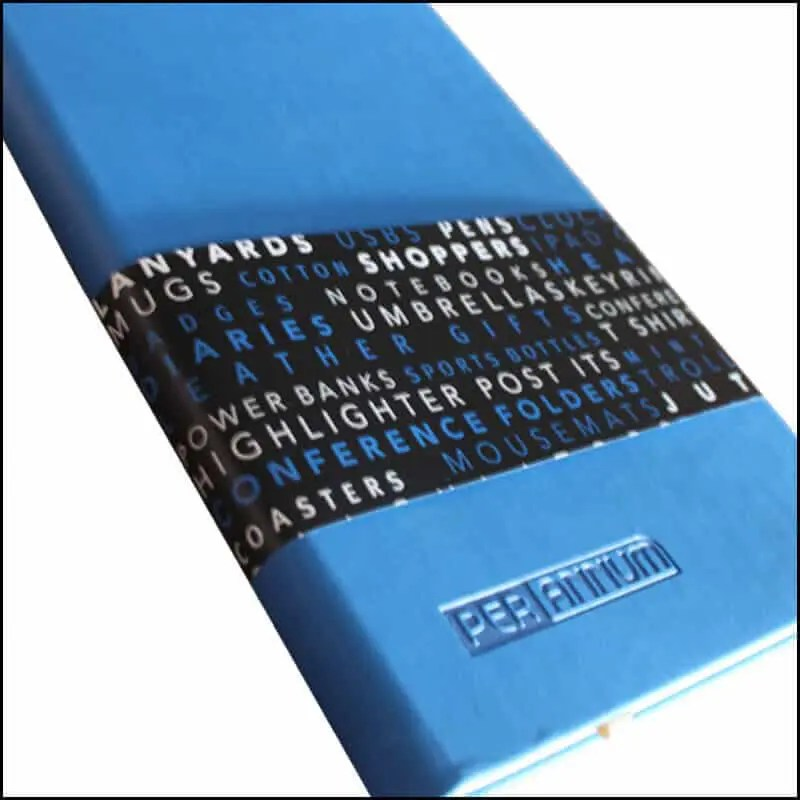 Image Showing Printed Belly Band for Company Branded Notebooks