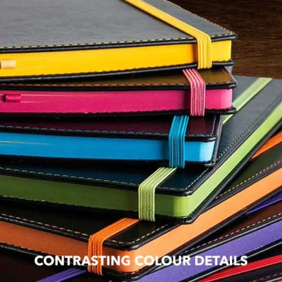 Contrasting Colour Details on Custom Notebooks and Customise Notebooks from The Notebook Warehouse