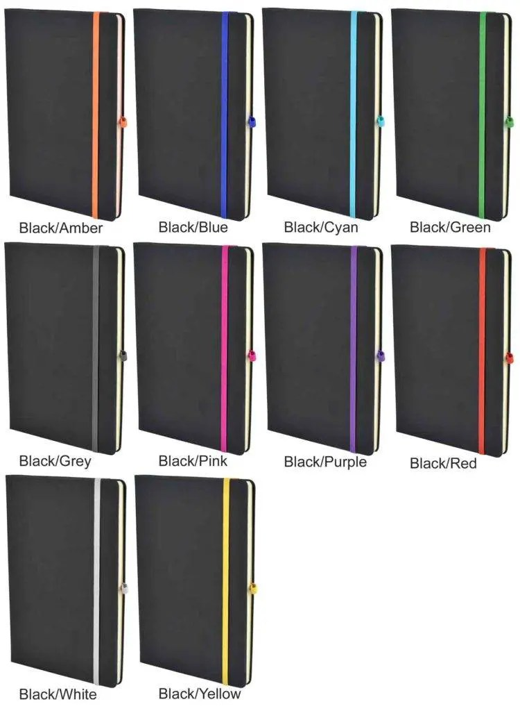 Bowland Contrast Promotional Notebooks are available in 10 striking colourways from The Notebook Warehouse