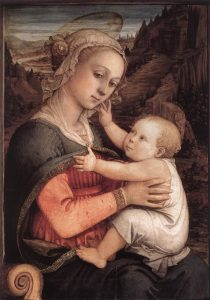 Madonna and Child by Fra Filippo Lippi. Nowhere near my sister's twisted version.