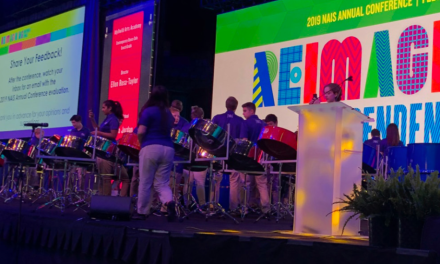 Steel drum band plays for NAIS and Disneyland