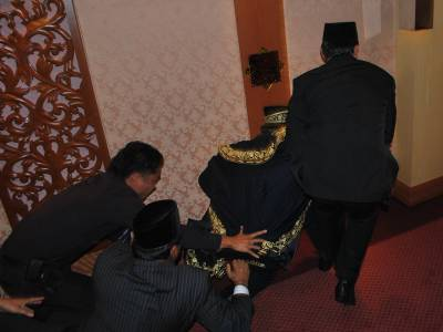 Pakatan Rakyat (PR) Speaker V Sivakumar being dragged out of the House in the tussle for power between the Barisan Nasional (BN) and the PR in Perak, 2009