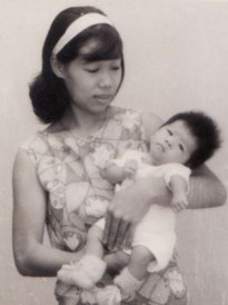 Lina, at three months, with mum