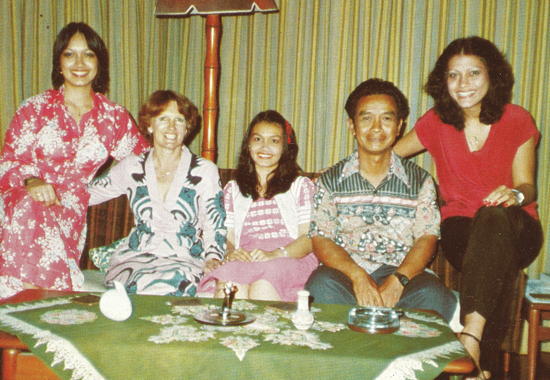 In the 1980s. Yasmin (far right) with her sisters, Yana (centre) and Izan (far left), and their parents in their government quarters home in Jalan Perdana, Kuala Lumpur, which is today the site for the National Space Agency headquarters