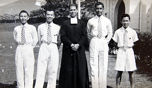 At school in St Michael's, Ipoh in 1955. Khoo is last on the right
