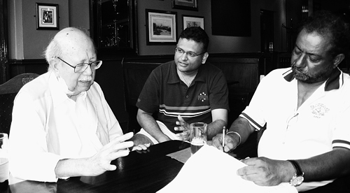 Nades, with Terence Fernandez, interviewing former Bumiputera Malaysia Finance (BMF) chairperson, the late Lorrain Esme Osman, in 2008