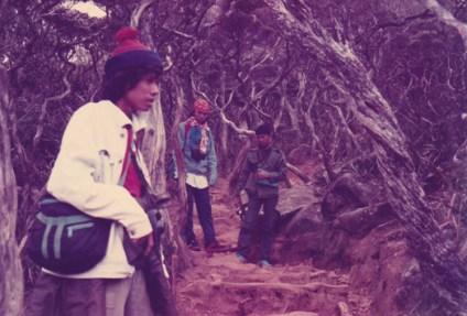 Bayu and the Matahati members at Mount Kinabalu after graduating in 1992.