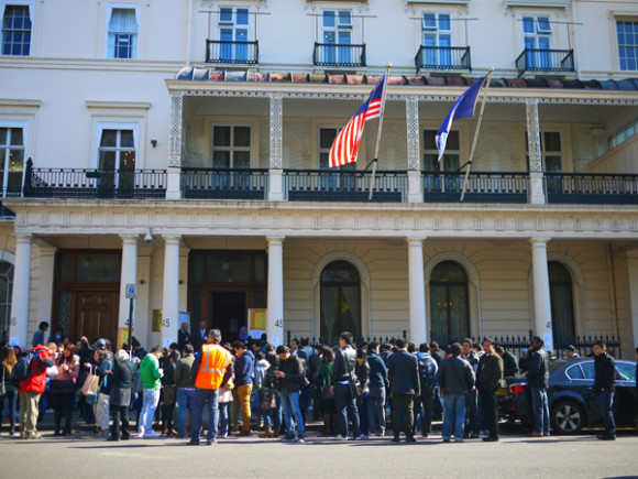 The long line of voters outside the Malaysian Embassy in London. (Photo by Koh Lay Chin)
