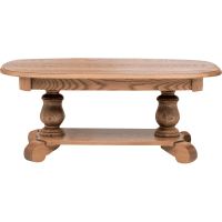 "Solid Oak Country Style Pedestal Coffee Table - 43"" - The ..."