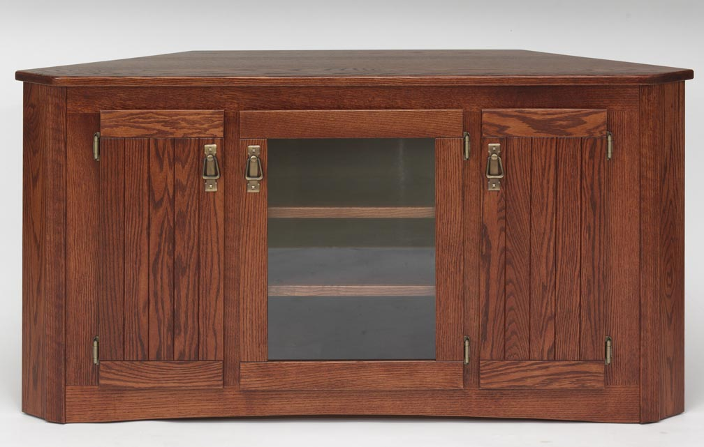 Solid Oak Mission Style Corner Tall TV Stand wCabinet