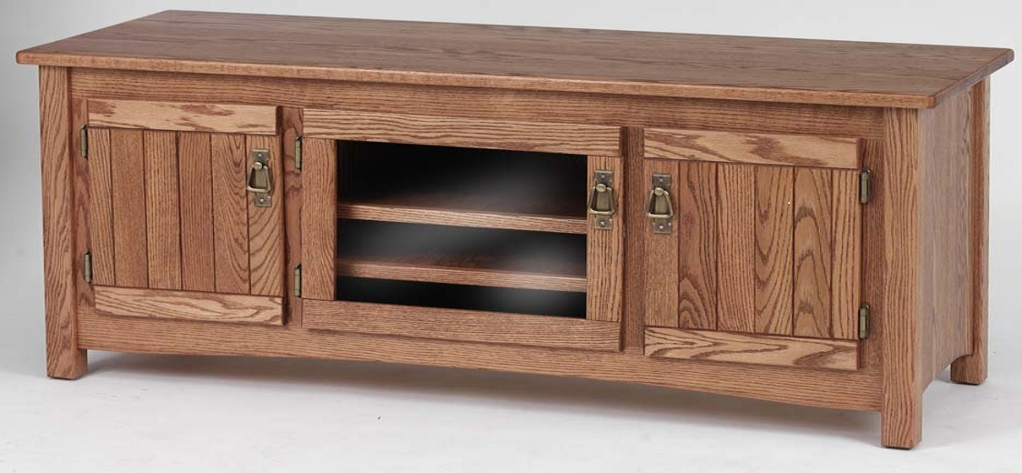 Solid Oak Mission Style TV Stand wCabinet 60  The Oak