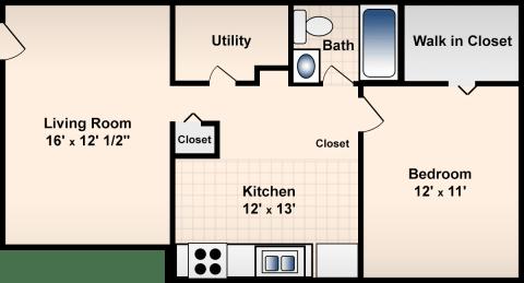 1 Bed / 1 Bath / 625 ft² / Deposit: $300