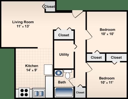 2 Bed / 1 Bath / 848 ft² / Deposit: $300