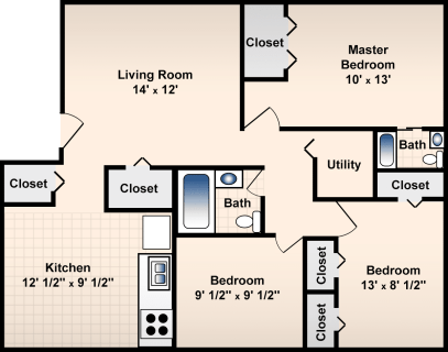 3 Bed / 1½ Bath / 1060 ft² / Deposit: $300