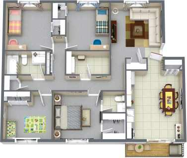 4 Bed / 1½ Bath / 1233 ft² / Availability: Not Available / Deposit: $300