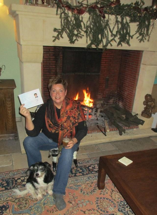What more does a girl want? A fire, a margarita, her dog, and her new Carte de Séjour.