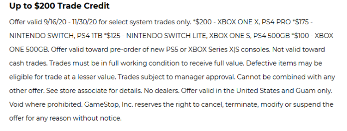 GameStop PS5/Series X|S Trade-In Offer