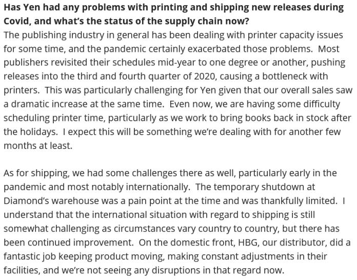 Yen Press backlist problems quote