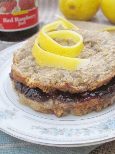 Lemon Baked Oatmeal with Raspberry Filling #vegan