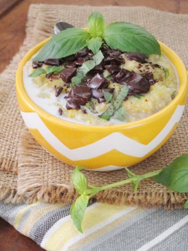 Basil Chocolate Zucchini Oatmeal by the #oatmealartist