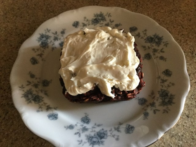 Red Velvet Brownie Baked Oatmeal with Cream Cheese Frosting