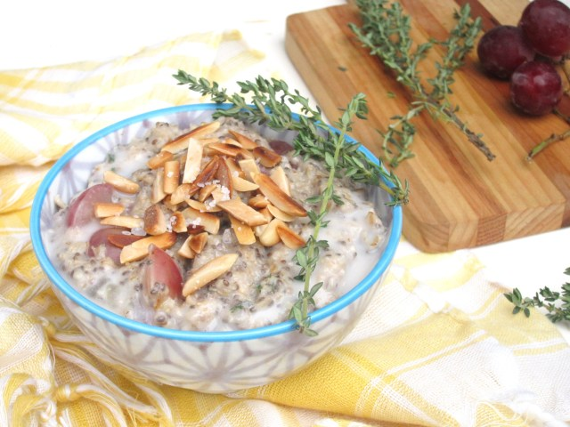 Salted Almond, Grape, and Thyme Oatmeal | #OatmealArtist #vegan