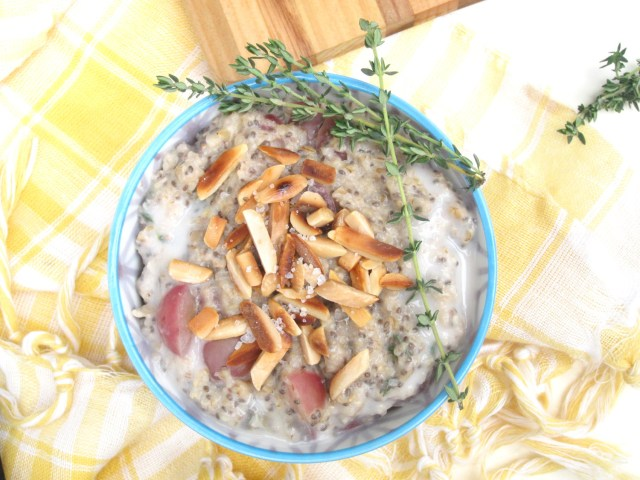 Salted Almond, Grape, and Thyme Oatmeal #OatmealArtist #vegan