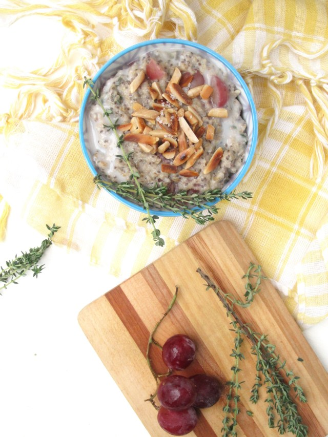 Salted Almond, Grape, and Thyme Oatmeal #Vegan #OatmealArtist