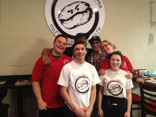 Cafe personnel: back, from l., Executive Chef Daniel Sullivan, Sous Chefs Robert Flythe and Chris Nazzarreto and co-owner Eileen Cassano; front, from l., dishwasher Thomas Hanson and server Natalie Cassano