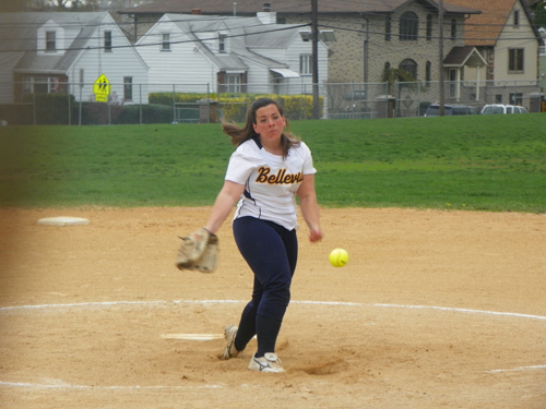 Photo by Jim Hague Junior Jenna Lombardi has become the starting pitcher for the Belleville softball program after the injury to Sarah Guy.