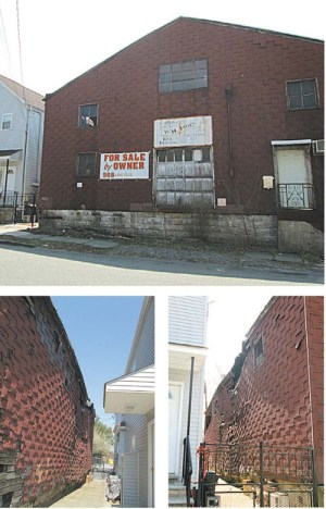 Photos by Ron Leir Neighbor is fearful that roof of old factory will topple onto his house.