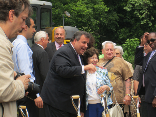 Photo by Ron Leir Gov. Chris Christie greets the crowd at ceremonial groundbreaking for new senior residence.