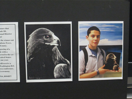 Photo by Ron Leir Harrison's Josh Santiago displays his art project that captured first place in a Congressional art competition.