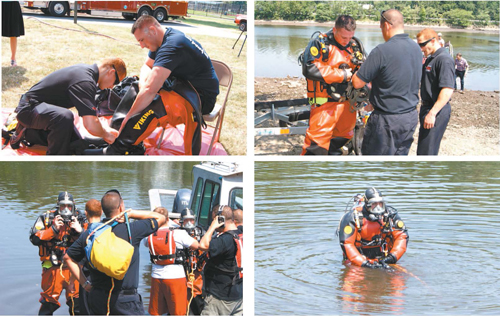Photos by Karen Zautyk Lyndhurst Fire Department divers Mike Cerbo and Nicholas Haggerty suit up and brave the polluted Passaic.