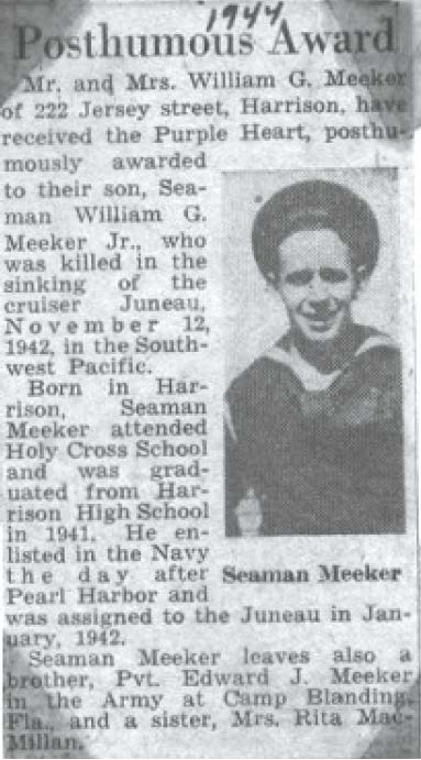 Photo courtesy Raymond Testa A newspaper report of Purple Heart awarded to Seaman William Meeker.