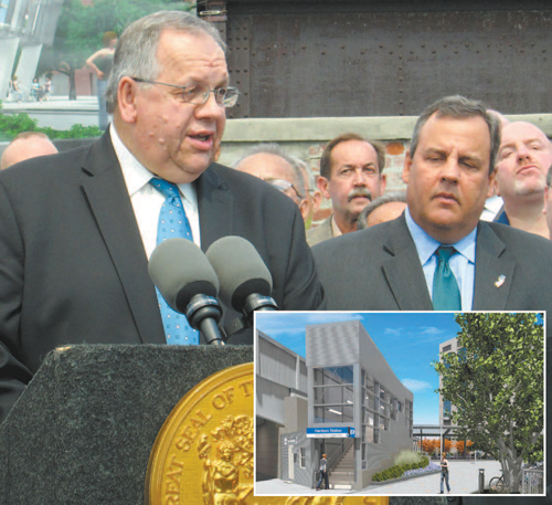 Photo by Ron Leir; inset image courtesy Port Authority of N.Y. & N.J. Harrison Mayor Ray McDonough (l.) thanks Gov. Chris Christie for helping expedite work on new PATH station, reflected in conceptual rendering below.