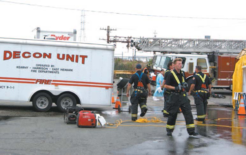 Photo by Karen Zautyk Kearny Fire Department played key role in drill.