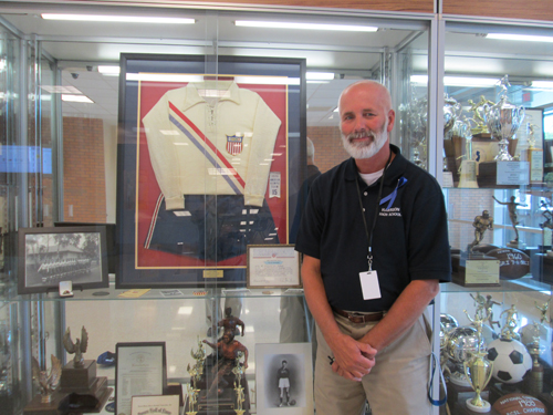 Photo by Ron Leir Ron Shields and his dad's Olympic uniform.