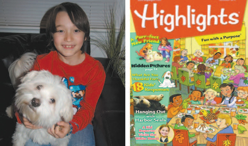 Left photo courtesy Monica Koby; right photo courtesy Highlights for Children Gabriel Koby and Bolt at home (l.) and an advance look at next month's Highlights cover page that includes Gabriel's drawing of Bolt.