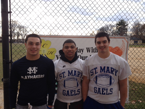 Photo courtesy Dennis Hulse From l , Kevin Woupes, Keon Banks and Evan O'Sullivan, all residents of Kearny, have played major roles for the St. Mary's of Rutherford Gaels. St. Mary's will face St. Joseph of Hammonton for the NJSIAA Non-Public Group 1 state championship Saturday at the College of New Jersey.