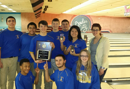 Photo courtesy of Brianna Balkin The Lyndhurst High School bowling team captured the overall Bergen County championship last weekend at Bowler City in Hackensack. Standing, from l., are Jordan Lopez, Richard Sawires, Mike Dul, Ryan Donohue, Massimo Sarracino, Emily Young and coach Brianna Balkin. Kneeling in front, from l., are Daijon Smith, Michael Hayes and Tyla D'Andrea.