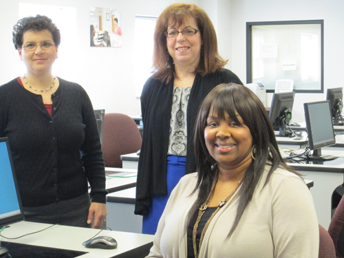 Photo by Ron Leir Goodwill representatives, from l., Lisa Fiore, Lori Friedman and Robin Garris at Career Counseling & Learning Center.