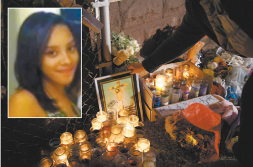 Candles and fl owers placed by friends and strangers at the home of murder victim Alishia Colon (inset).