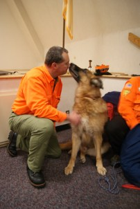Photos by Karen Zautyk Search-rescue dogs Exepnathos (above) and Archimedes with owner/trainer Stu Mavros at Meadowlands program.