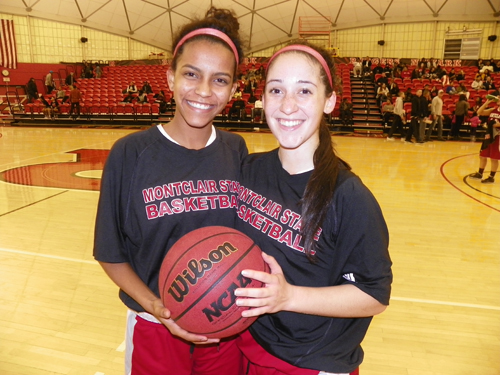 Photo by Jim Hague Harrison's Rayven Lucas (l.) and Kearny's Janitza Aquino have helped the Montclair State University women's basketball team to a national ranking among Division III schools.
