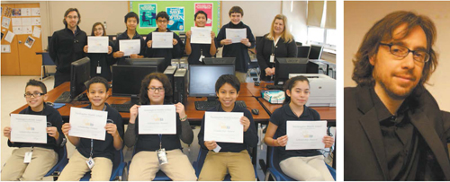 Left photo courtesy Michael Landy; right photo courtesy Steven Fink LEFT: Washington School students display scholarship certifi cates. In front row, from l., are: Jamie Diaz, Marvin Acuna Jerez, Aaron El Hassani, Luis Sobrino and Susan Perea. Standing, from l., are: instructor Steven Fink, Natalie Giummara, Justin Cai, Kane Montan, Alejandro Chavez, Russell Kennedy and teacher Eileen