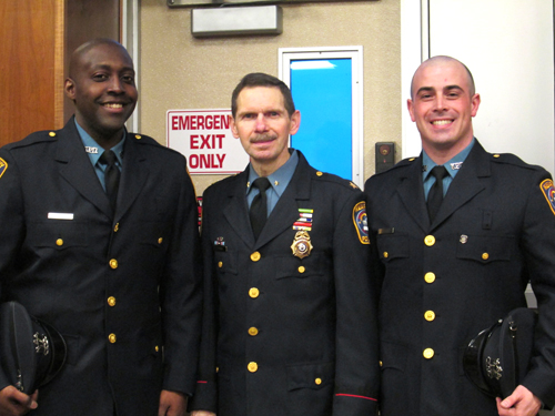 Photo by Ron Leir Officer Jordenson Jean (l.), Chief John Dowie (c.) and Officer Daniel Esteves.